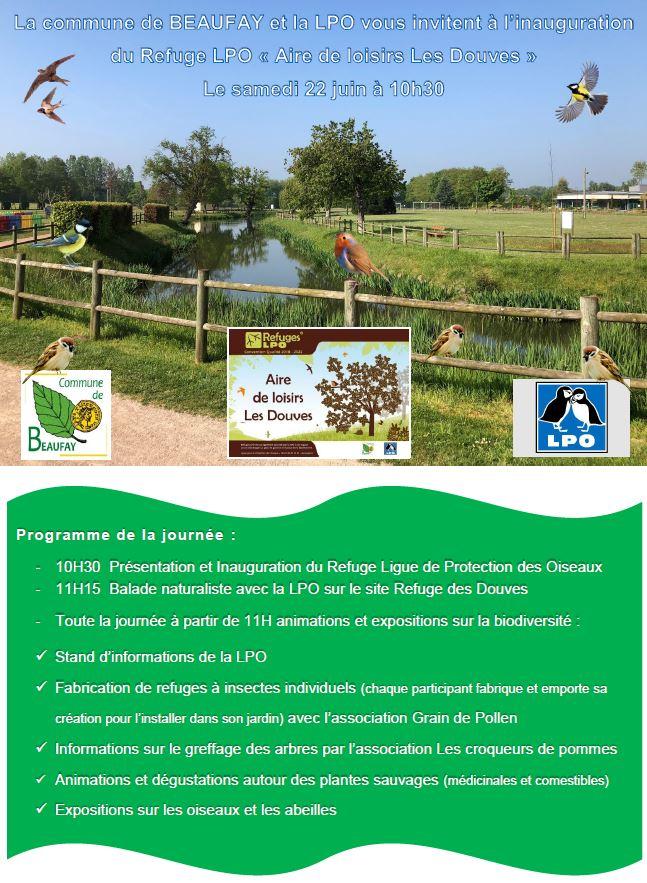 Invitation inauguration du refuge LPO de Beaufay